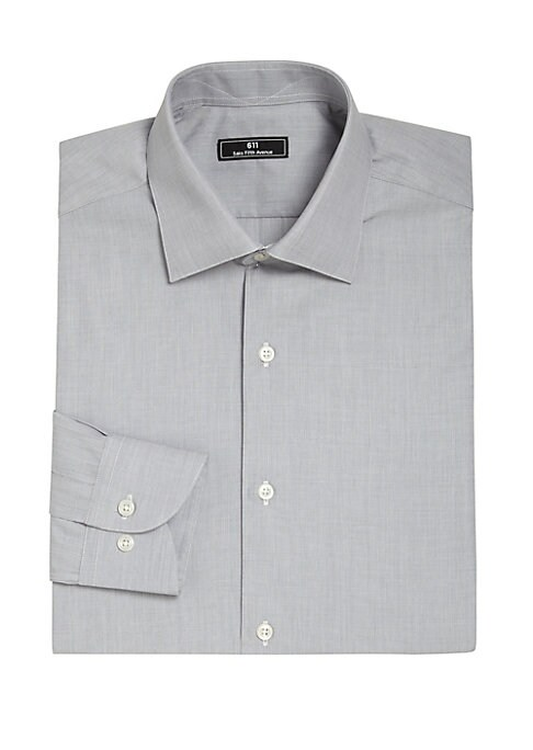 Image of EXCLUSIVELY OURS AT SAKS.COM.Handsome micro check pattern on crisp cotton shirt. Spread collar. Front button-closure. Long sleeves with barrel cuffs. Cotton. Dry clean. Made in USA.