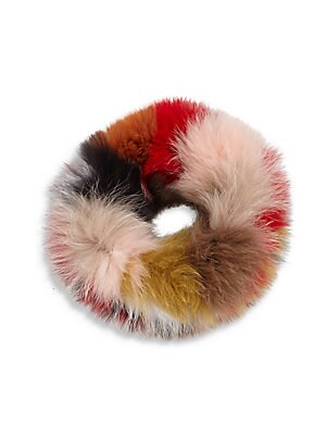 """Image of Plush multicolor fox fur shapes stretchy headband 4""""W X 16""""L Textile Fur type: Dyed fox Fur origin: China Imported. Soft Accessorie - Cold Weather Accessories. Surell. Color: Red Multi."""