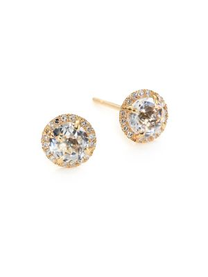 EF COLLECTION Diamond, White Topaz & 14K Yellow Gold Stud Earrings in Rose Gold