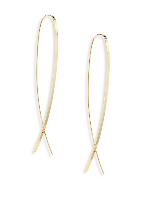 Narrow Flat Upside Down 14K Yellow Gold Hoop Earrings