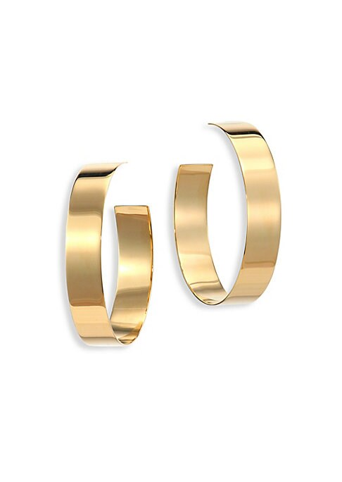 """Image of From the Nude Collection. Wide flattened hoop polished in 14k yellow gold.14k yellow gold. Diameter, 1.5"""".Post back. Made in Italy."""