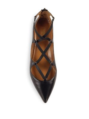 AQUAZZURA Leathers Mischa Leather Point Toe Flats