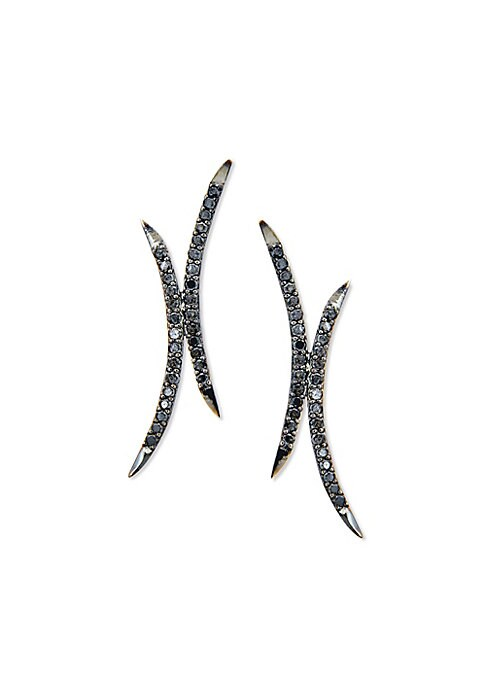 """Image of From the Reckless Vol. 1 Collection. Sprawling curved stud inset with black diamonds. Black diamonds, 0.8 tcw.14k black gold. Drop, 1.25"""".Post back. Made in Italy."""