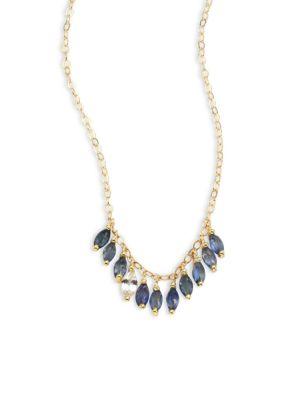 ILA Maisie Blue & White Sapphire Necklace in Gold Sapphire