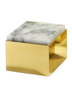 """Image of Featuring an earthy alabaster lid and gleaming brass body, this shimmering box offers a unique way to store your fine jewelry and other valuables.4.5""""W x 3.15""""H x 4.5""""L.Brass/alabaster. Made in Italy."""