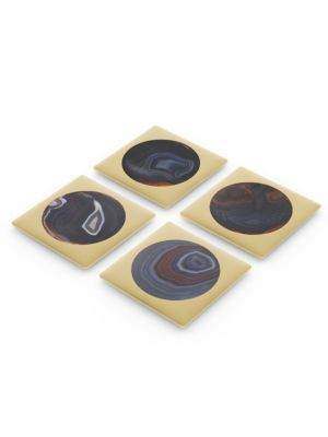 """Image of Contrast patterns elevate this set of four coasters and are sure to add a classic edge with its abstract design. Made of agate and brass, this set is sure to last long. Set of four.4""""W x 4""""L x 0.25""""H.Agate/brass. Imported."""