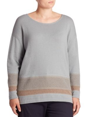 Cozy Wool Flannel Two-Tone Ribbed Hem Sweater by Lafayette 148 New York, Plus Size