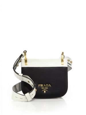 Pionnière Leather & Crocodile Saddle Bag by Prada