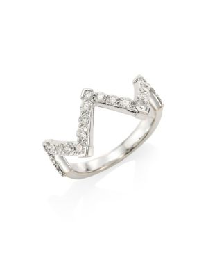 HEARTS ON FIRE Triplicity Diamond, Crystal & 18K White Gold Pointed Ring