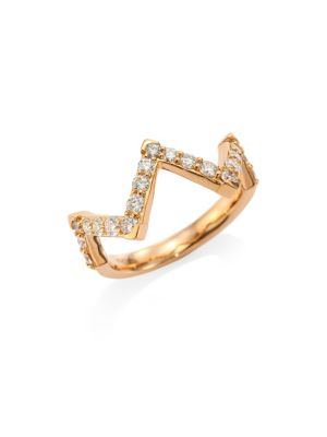 HEARTS ON FIRE Triplicity Diamond & 18K Rose Gold Pointed Ring