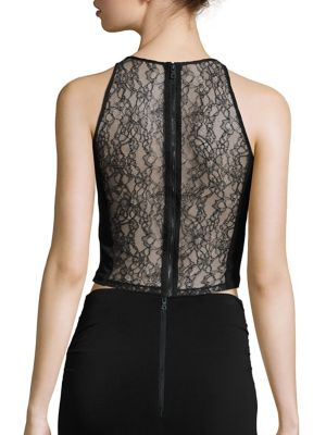 Theodora Lace Back Cropped Top by Alice + Olivia