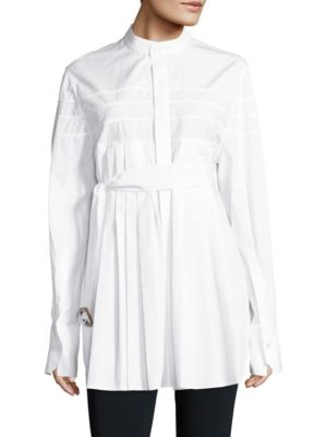 Kaimee Belted Pleated Cotton Shirt by Calvin Klein Collection