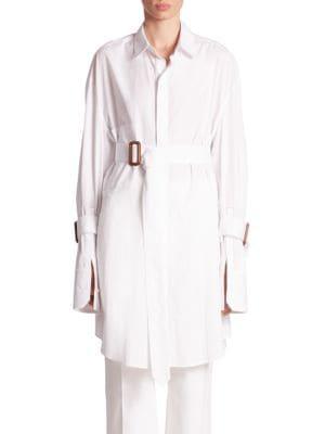 Katya Bis Cotton Poplin Belted Tunic by Calvin Klein Collection