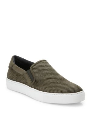 Stewart Suede & Leather Perforated Slip On Sneakers by To Boot New York