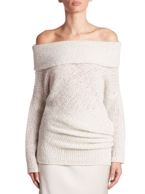 Doodle Off-The-Shoulder Cashmere & Silk Tunic by Calvin Klein Collection
