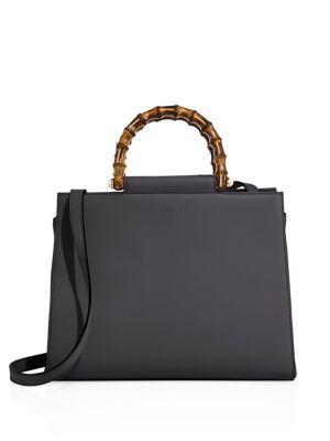 Medium Angel Leather Top Handle Satchel - Black, Black Leather
