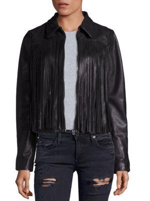 Leather Fringe Moto Jacket by True Religion