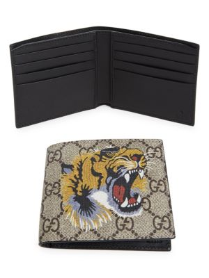 Tiger Printed Gg Supreme Classic Wallet in Neutrals