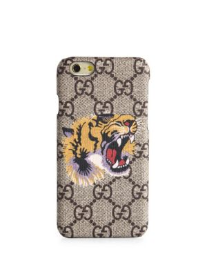 Gg Supreme & Tiger-Printed Iphone 6 Case, Beige Multicolor