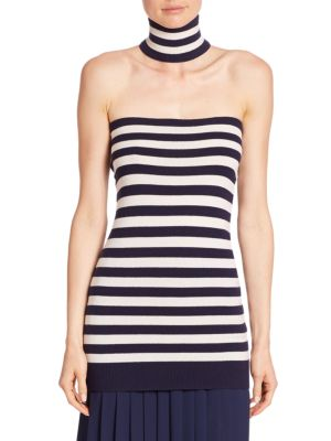 Stripe Cashmere Tube Top & Choker by Michael Kors Collection