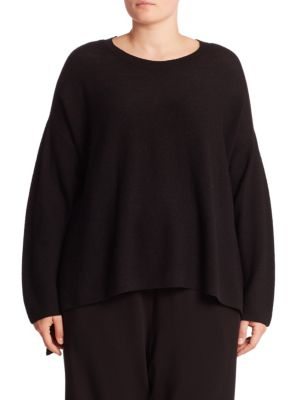 Merino Wool Hi-Lo Sweater plus size,  plus size fashion plus size appare