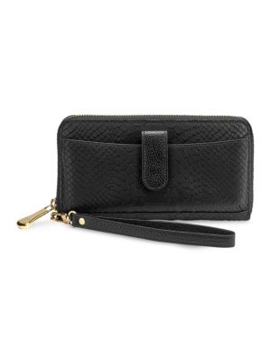 GIGI NEW YORK Leather Phone Wallet in Black