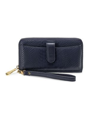 Leather Phone Wallet, Navy
