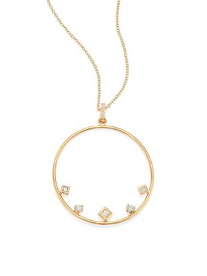 ZOË CHICCO 14K Yellow Gold Diamond Large Circle Pendant Necklace, 18 - 100% Exclusive