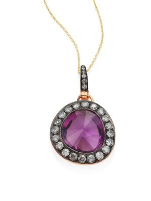 "Image of From the Dusty Diamonds Collection. Glamorous amethyst pendant with diamond-pave halo. Diamonds, 1.47 tcw. Amethyst.18k rose gold.0.75""W X 1.3""H.Bale clasp. Imported. Please note: Chain sold separately."