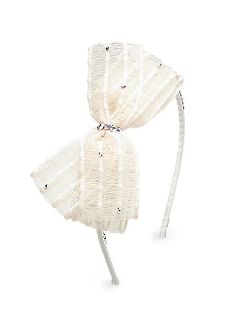 Girls Swarovski Crystal  Organza Bow Headband