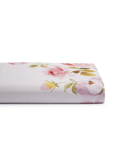 """Image of Adorned with watercolor print of faded flowers and complemented with an allover print on the reverse, this duvet cover exudes sophistication.89""""W X 93""""L.Long staple combed cotton. Machine wash. Imported."""