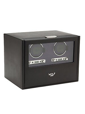 """Image of Double watch winder in rich pebbled leather 13""""W x 10.5""""D x 10""""H Pebbled leather Ultrasuede lining Locking glass door Pull-out drawer Winds two watches Powered by D-cell/lithium batteries (not included); can also run on AC power Imported. Gifts - Frames A"""