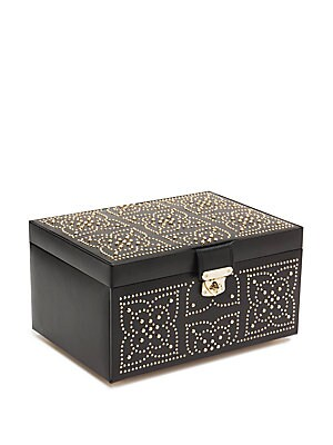 Image of Elegant and capacious, this medium jewelry box flaunts sophisticated mosaic patterns decked with golden studs. It comes with a mirror, five ring rolls, 17 storage compartments as well as a travel case with three ring rolls and a compartment. From the Marr