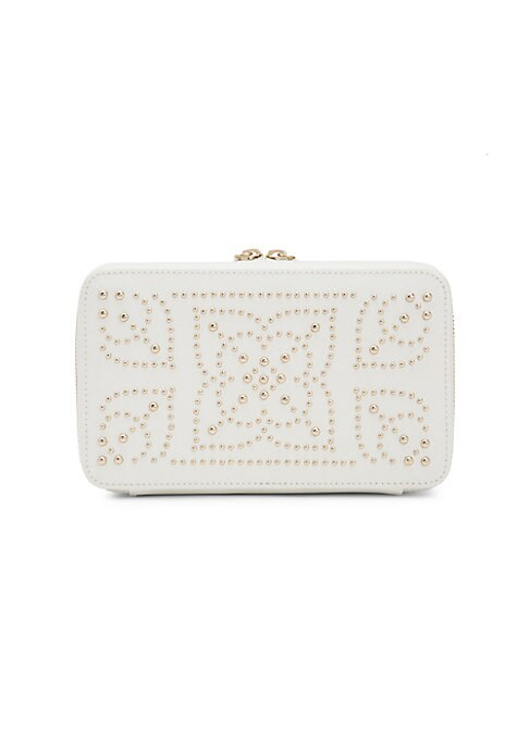 Image of Exquisitely designed leather zip case displays alluring mosaic patterns with glossy gold finished studs on the exteriors. It comes with a mirror, a ring roll, 12 earring holes, three necklace holders with a pocket each and two removable compartments insid