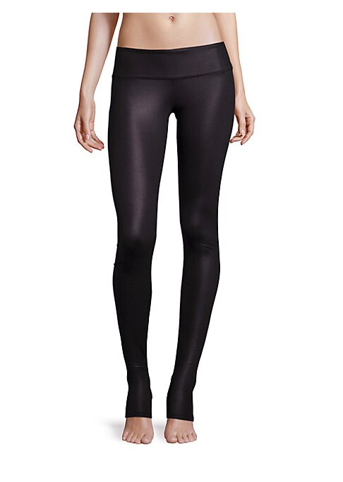 "Image of Glossy solid leggings tailored with stretchy comfort. Banded waist. Rise, about 9"".Inseam, about 28"".Polyester/spandex. Hand wash. Imported. Model shown is 5'10"" (177cm) wearing US size 4."