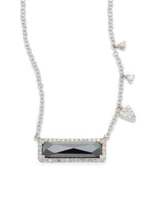 """Image of Hematite pendant necklace with diamond halo and stations. Diamonds, 0.18 tcw. Hematite.14k white gold. Adjustable length, 16""""-18"""".Lobster clasp. Imported."""