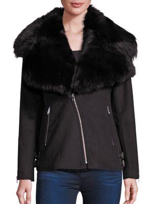 Kiri Shearling Collar Moto Jacket by LAMARQUE
