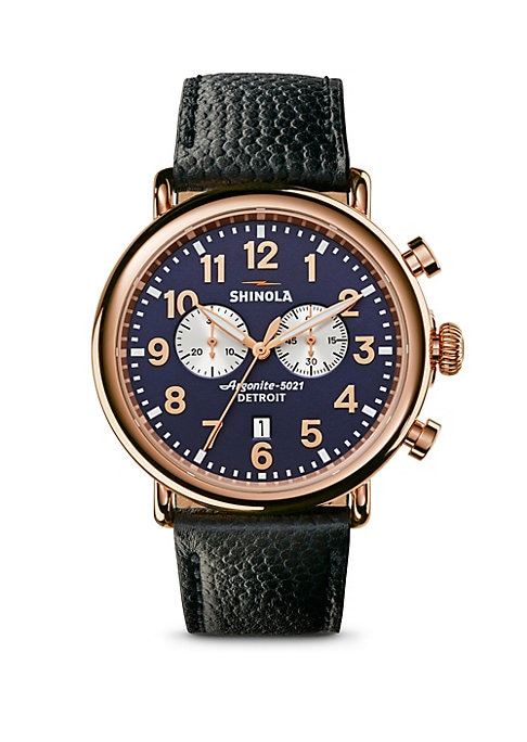 """Image of Dapper leather strap watch with two subdials. Swiss quartz movement. Water-resistant up to 10 ATM. Round PVD rose gold case, 47mm (about 2"""").Polished PVD rose gold bezel. Two subdials. Arabic numeral hour markers. Date display at 6 o'clock. Second hand. F"""