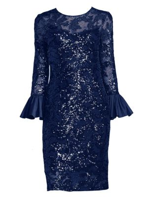 Buy Teri Jon by Rickie Freeman Sequined Bell Sleeve Sheath Dress online with Australia wide shipping