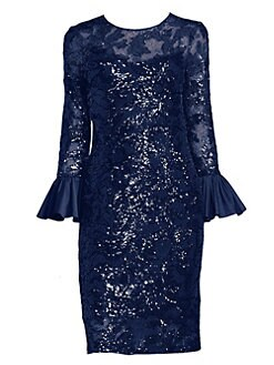 9697ce436f2 Teri Jon by Rickie Freeman - Sequined Bell Sleeve Sheath Dress