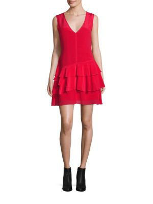 "Image of Silk drop-waist dress with tiered ruffle skirt.V-neck. Sleeveless. Concealed side zip. Dropped waist. Ruffle skirt. About 33"" from shoulder to hem. Silk. Dry clean. Imported. Model shown is 5'10"" (177cm) wearing US size 4."