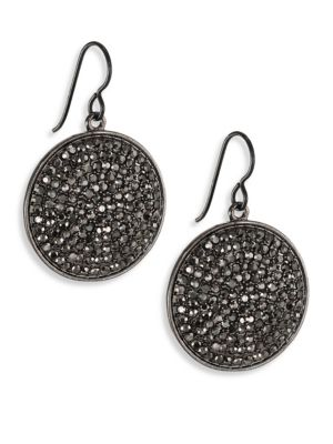"""Image of Statement disc drop encrusted with edgy hematite pave. Hematite. Gunmetal-plated brass. Diameter, 1"""".Drop, 1.25"""".Ear wire. Imported."""