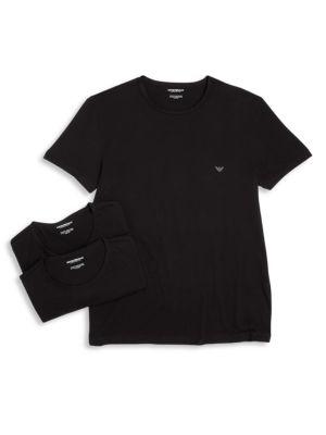 Genuine Cotton Crew Neck T Shirts Set Of Three by Emporio Armani
