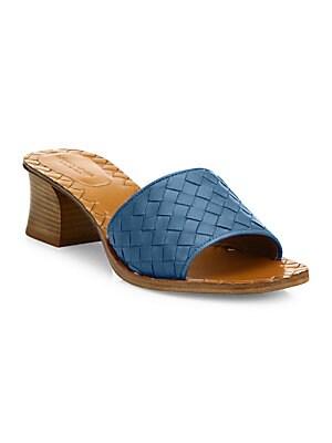 6526f48940b Bottega Veneta - Intrecciato Leather Block Heel Mules