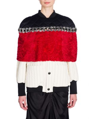 Quilted & Embellished Astrakhan Lamb Fur Cape by Marni