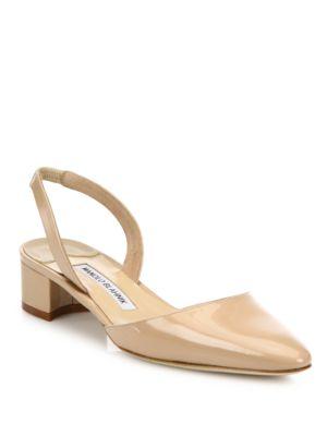 MANOLO BLAHNIK Aspro Patent Leather Block Heel Slingbacks, New Nude