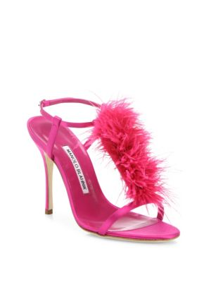 "Image of Tonal feathers add glam style to satin T-strap sandal. Self-covered heel, 4.13"" (105mm).Satin upper with ostrich and turkey feathers. Open toe. Adjustable ankle strap. Leather lining and sole. Made in Italy."