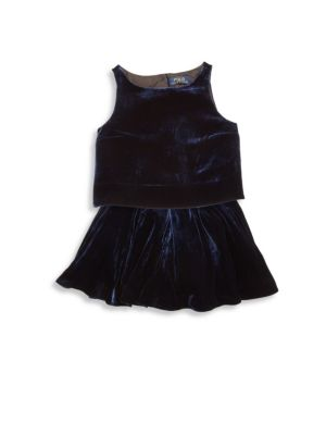 Girls TwoPiece Velvet Top  Skirt Set