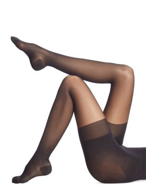 Image of Supportive tights with opaque push-up panty section. Banded waist. Pull-on style. Nylon/elastane/cotton. Machine wash. Made in Austria.