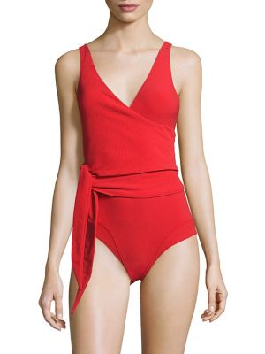 Dree Louise Stretch-Crepe Wrap Swimsuit, Tomato Red